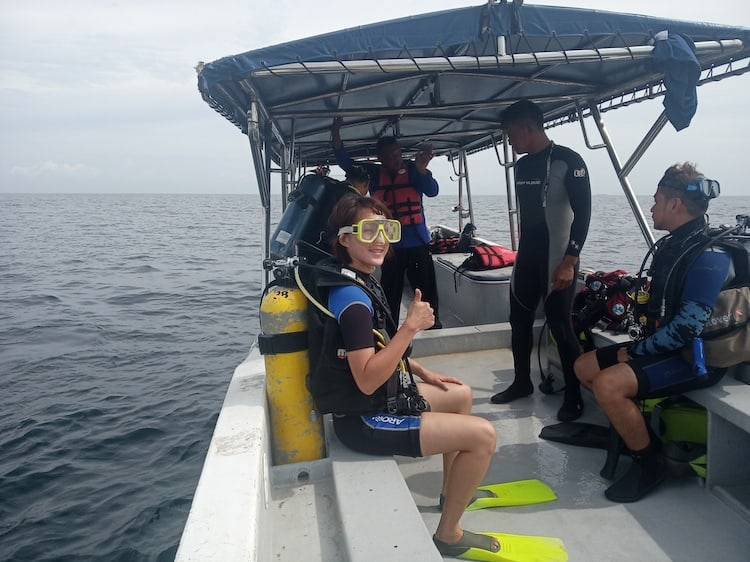 On the dive boat. Brunei Diving