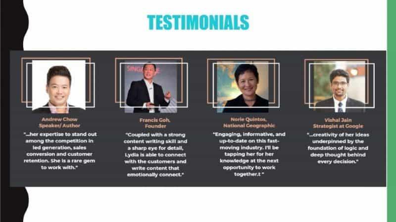 Lydia Yang testimonials