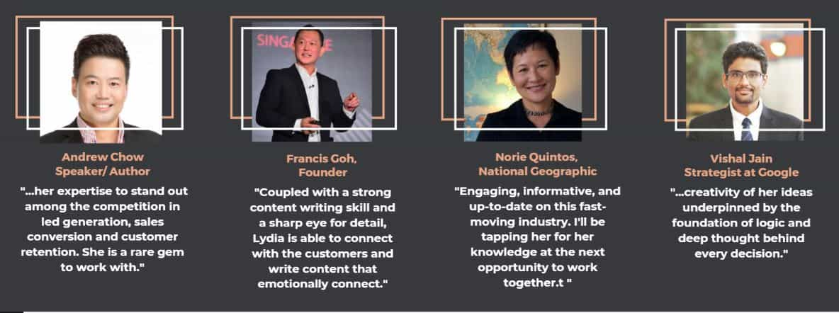 Lydia Yang Digital Marketing Trainer and Speaker | Testimonials and Referrals from past clients and partners