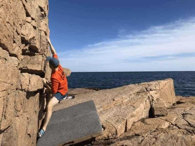 Bouldering at Monument Cove Acadia