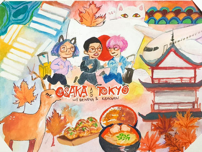 Gouache painting of my friends and I  going to Japan Osaka and Kyoto. Demonstration on how I used art for travel
