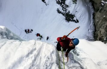 ice climbing from the top